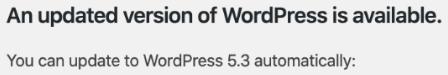image of WordPress core update to version 5.3