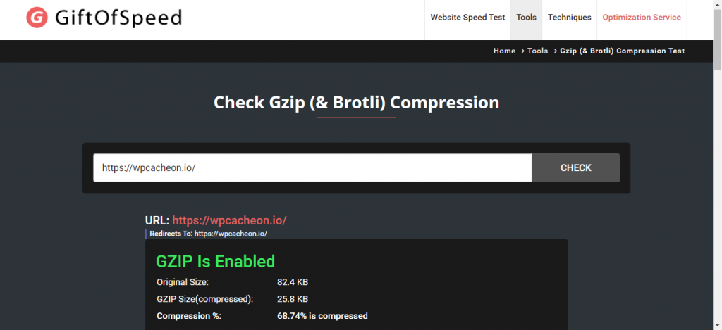 WPCacheOn with enabled GZIP compression
