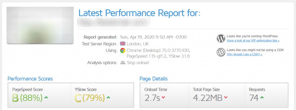 GTmetrix speed loading test with WPCacheOn version 1.2.7