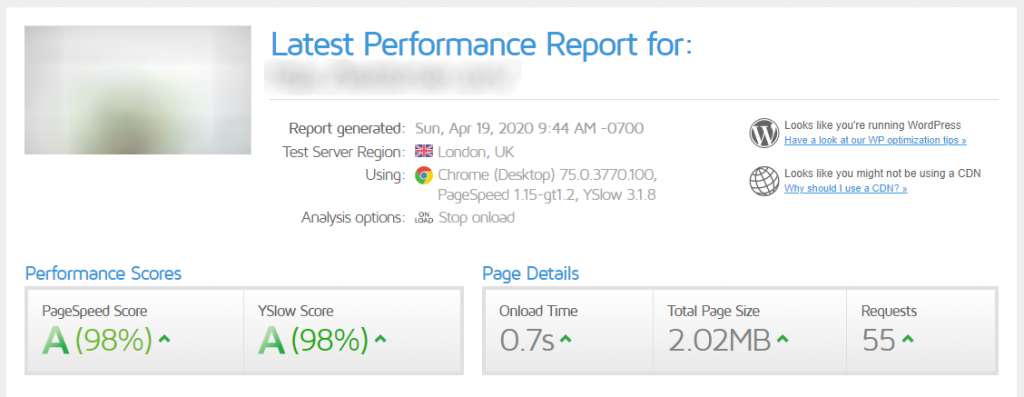 GTmetrix speed loading test with WPCacheOn version 2.0.0